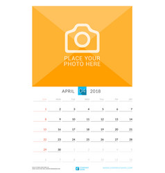 april 2018 wall monthly calendar for 2018 year vector image