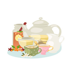 aromatic herbal tea with herbs and spices vector image
