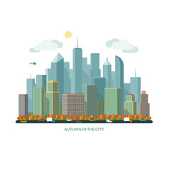 Autumn city concept urban landscape vector