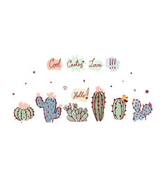banner with cacti and words in speech bubbles vector image