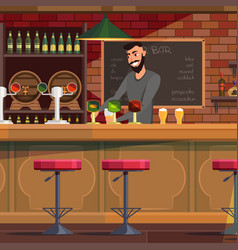 Bartender working in pub flat vector