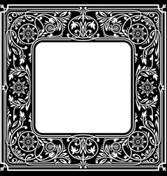 black floral square framewhite space in centre vector image