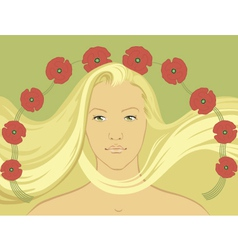 blond girl with flying hair vector image