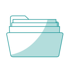blue shading silhouette of opened folder with vector image