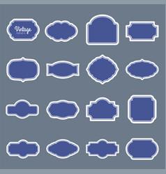 blue vintage labels set frames for design vector image