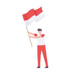 Boy with indonesian flag vector