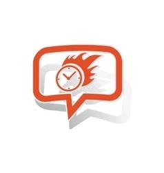 Burning clock message sticker orange vector