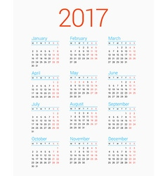 Calendar for 2017 Year on White Background Week vector image