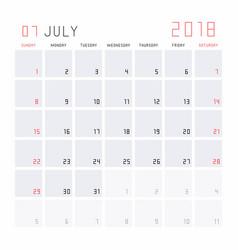 Calendar july 2018 vector
