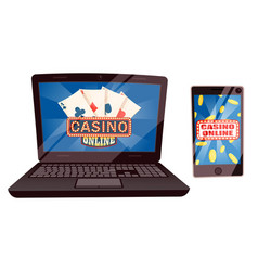 Casino online computer and laptop with cards set vector