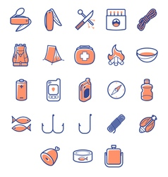 colored icon set for camp survivals vector image