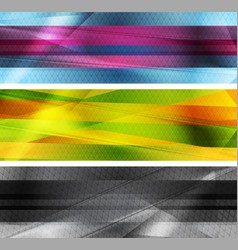 colorful glossy striped abstract banners vector image