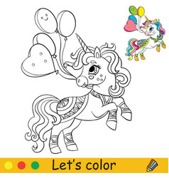 coloring cute party unicorn with balloons vector image