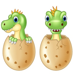 Cute baby dinosaur hatching isolated on wh vector