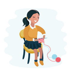 cute knitting ggirl vector image