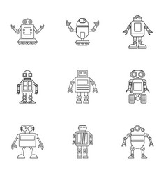 Cyborg icons set outline style vector