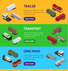 different types trailers 3d banner horizontal set vector image