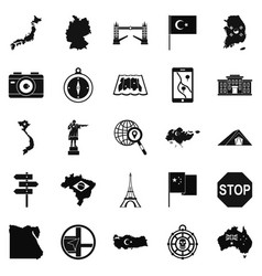 display icons set simple style vector image