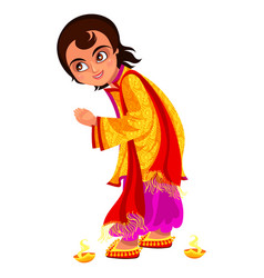 Diwali holiday and boy ready for bhai dooj rite vector
