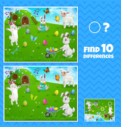Easter egg hunt bunnies kids game find difference vector
