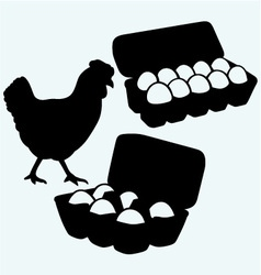 Eggs in a carton package and chicken vector image