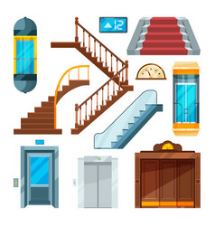 Elevators and stairs in different styles lift vector