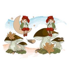 Fairy clip arts dwarf house vector