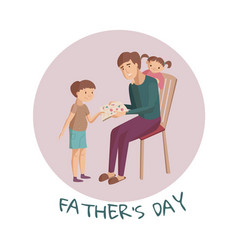 Father reads a book for children vector