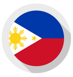 Flag philippines round shape icon on white vector
