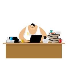Freelancer at work clutter and computer remote vector