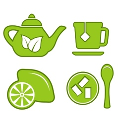 green tea set vector image