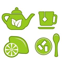 Green tea set vector