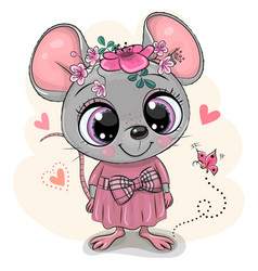 Greeting card cartoon mouse with flowers vector