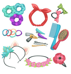 Hair styling accessories headbands and combs vector