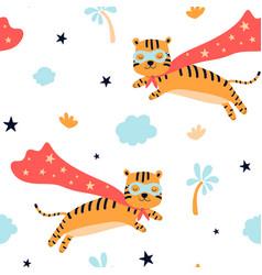 hand drawing print design hero tiger seamless vector image