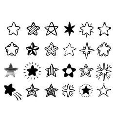 Hand drawn stars doodle drawing star starry vector