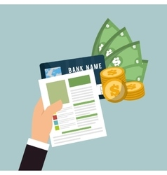 Hand hold bill credit card money currency vector