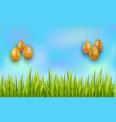 hanging easter golden eggs on sky background with vector image