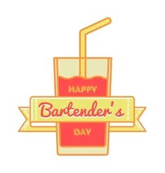 Happy Bartenders day greeting emblem vector