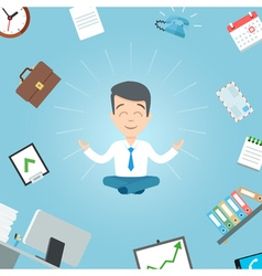 Happy businessman meditating in office vector