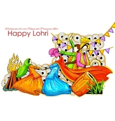 Happy Lohri background for Punjabi festival vector