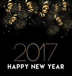 happy new year 2017 gold party decoration card vector image