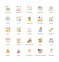 Holiday flat icons vector