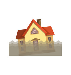 House in dirty water vector