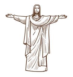 jesus christ statue in rio de janeiro monochrome vector image