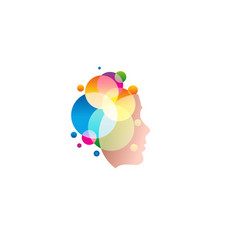 Lady face with colofrul circles abstract shampoo vector