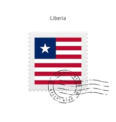 Liberia Flag Postage Stamp vector image