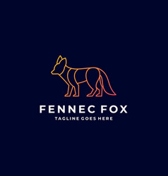 Logo fox elegant line art style vector