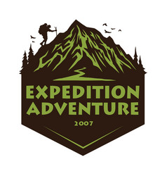 logo mountain hiking adventure camping vector image