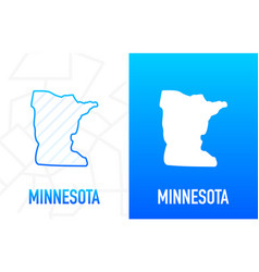 Minnesota - us state contour line in white vector